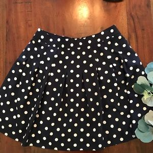 J.Crew Pleated A-line Skirt in Navy Polka Dot
